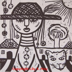 Observers Linocut by Lily S. May