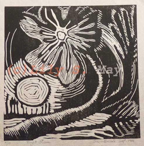Night Flower Linocut