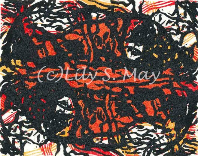 Red Black Linocut