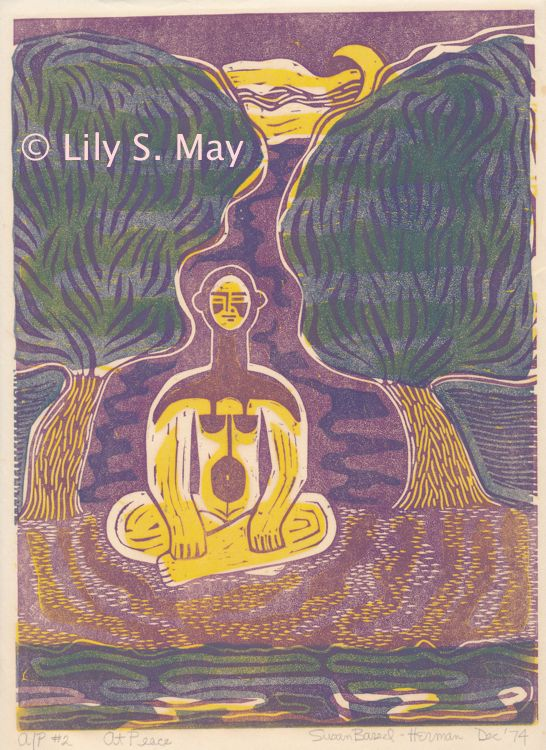 At Peace linocut. ©1974, Lily S. May under former married name.