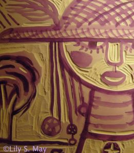 Another detail of the linoleum block for Observer print, ©Lily S. May