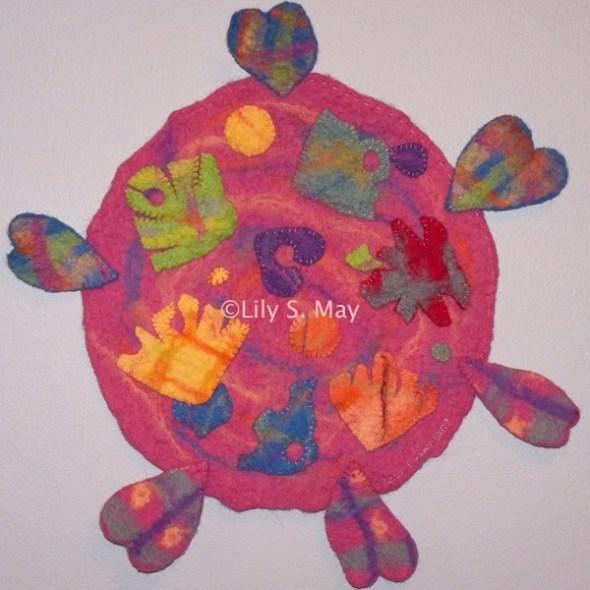 Wall Hanging, ©Lily S. May, 2007. Hand made merino wool felt, appliquéd.