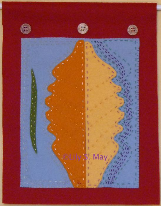 Leaf, wool felt wall hanging, ©2014 Lily S. May