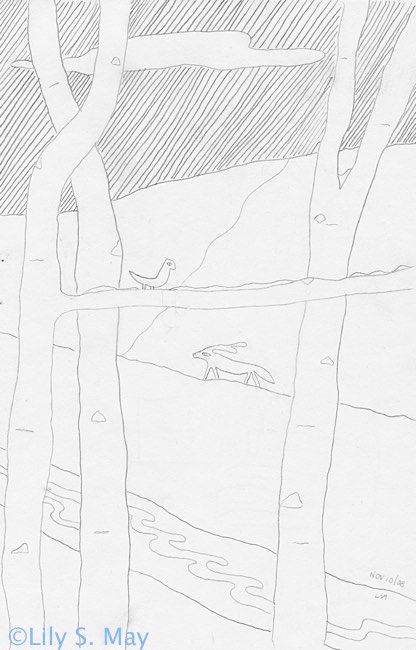 Line drawing by Lily S. May, ©2008