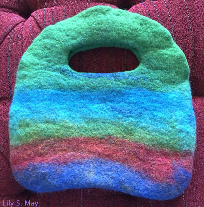 The outside of the completed purse, made with merino wool.  By Lily S. May, 2015