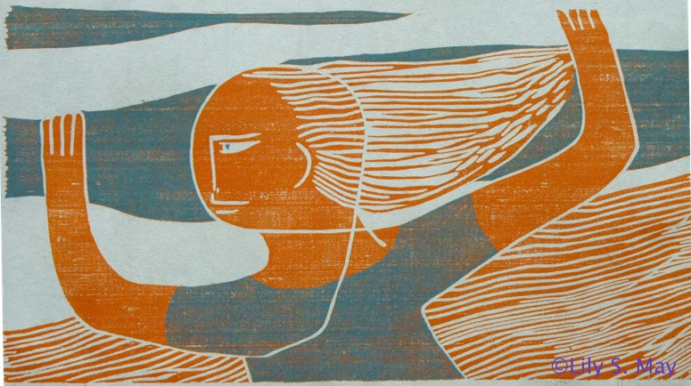 Orange Girl, Woodcut, ©1972 by Lily S. May under former married name, Susan Herman.