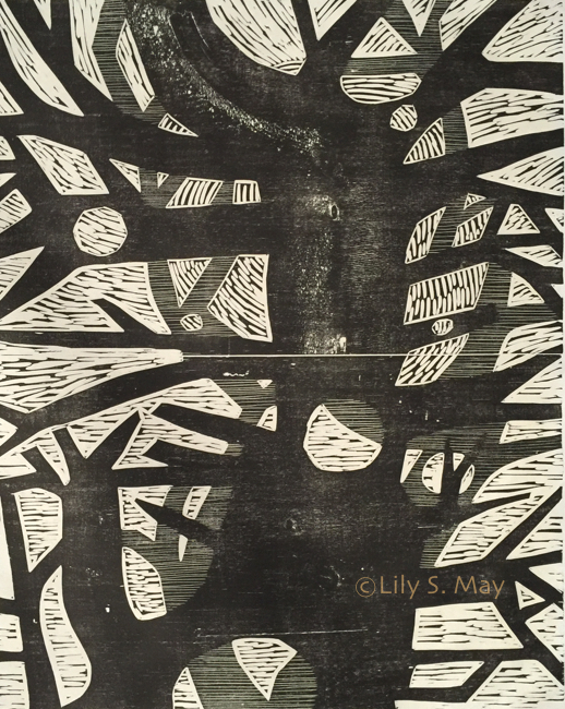 Fourth Form Variation, Woodcut, ©1973, Lily S. May under previous married name, Susan Barsel-Herman.