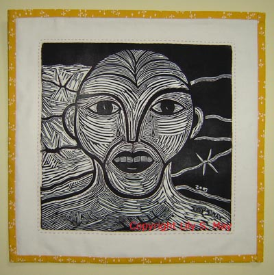Wallhanging with Linocut called War.  Made 2003. ©Lily S. May.